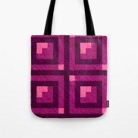 Magenta Pixel Blocks Tote Bag