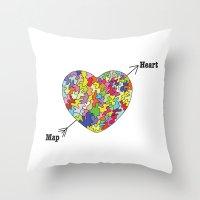 Heart Map Throw Pillow