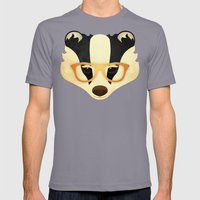 Hipster Badger: Gold Mens Fitted Tee Slate SMALL