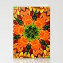 Orange Flower Garden Kaleidoscope Stationery Cards