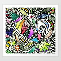 Zentangle Flowering Colo… Art Print
