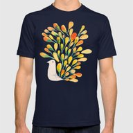Watercolor Peacock Mens Fitted Tee Navy SMALL