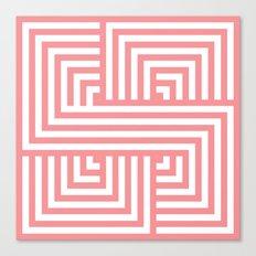 Coral Nautical Stripes Canvas Print