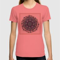 Morning Mist Mandala Womens Fitted Tee Pomegranate SMALL