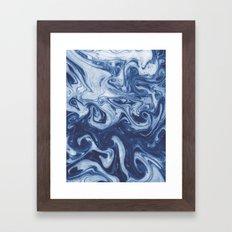 Yutaka - spilled ink marbled paper marbling swirl india ink minimal modern blue indigo pattern Framed Art Print