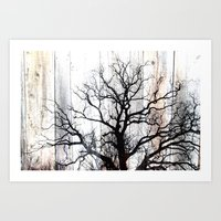 Tree Silhouette on Wood Art Print