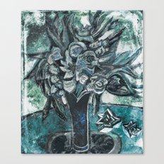 Green still life, flowers Canvas Print