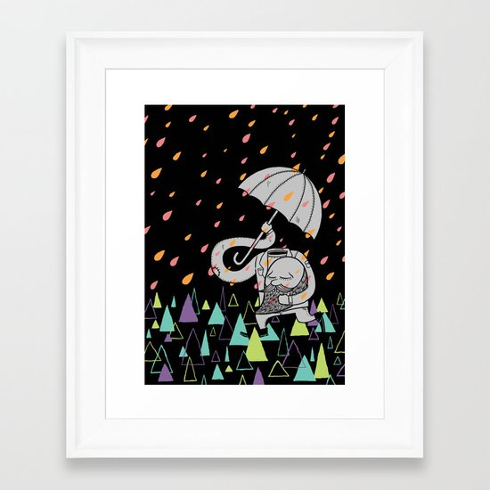 Running From The Rain Framed Art Print