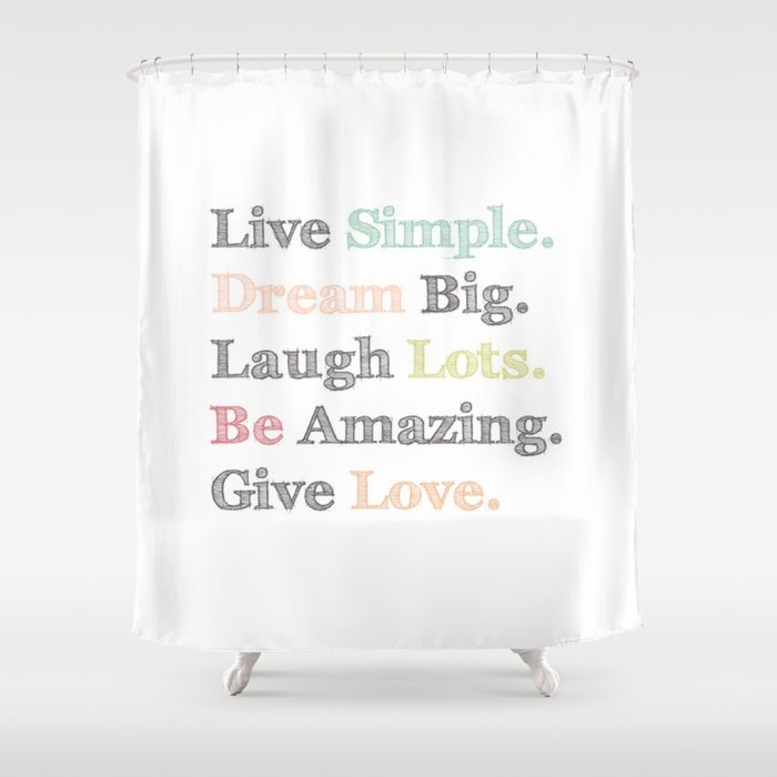 Inspiration Typography Quote Words Pastel Shower Curtain By Shabby Studios Design