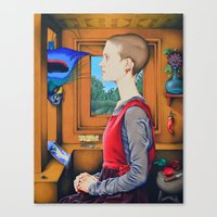 Portrait of a Woman with a Bird at a Casement Canvas Print