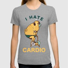 I Hate Cardio Womens Fitted Tee Tri-Grey SMALL