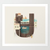 Resort Type - Letter U Art Print