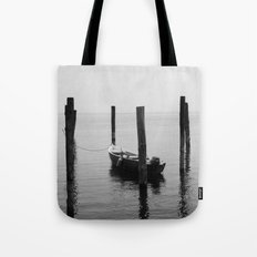 Boat on the lake Tote Bag