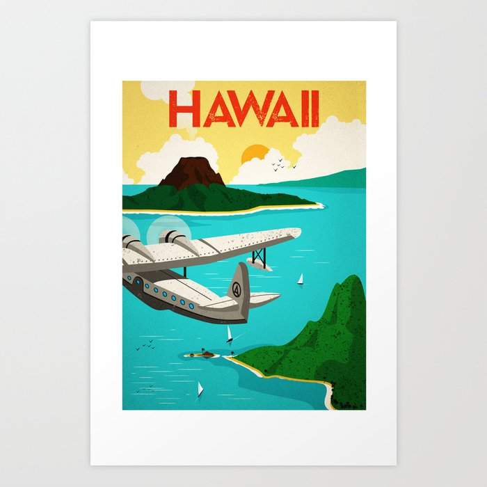Sunday's Society6 | Hawaii print of plane flying above islands.
