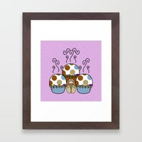 Cute Monster With Blue And Brown Polkadot Cupcakes Framed Art Print