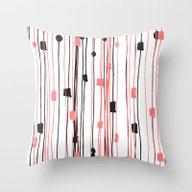 Hand Drawn Coral Black W… Throw Pillow