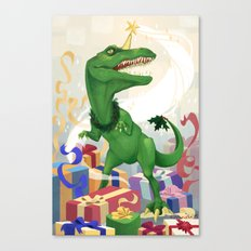 Christmas Unicorn T-Rex Canvas Print