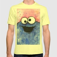 Cookie Monster Mens Fitted Tee Lemon SMALL