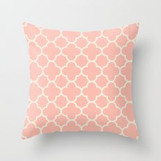 MOROCCAN {CORAL & OFF WHITE } Throw Pillow