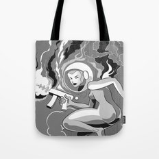 Space Girl with a Gun Tote Bag