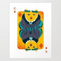 Cat The King Of Diamonds Art Print