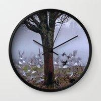 Birds In The Fog   Wall Clock