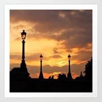 A Sunset In Paris Art Print