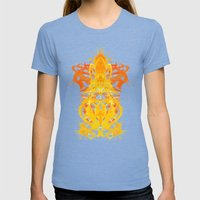 Gold Rorschach Ink Blot  Womens Fitted Tee Tri-Blue SMALL