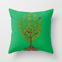 A bird in hand Throw Pillow