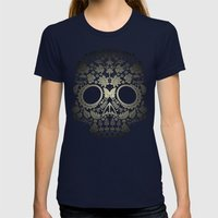 Day Of The Dead Skull No… Womens Fitted Tee Navy SMALL