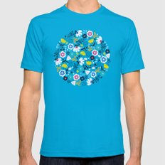Fresh Flora Mens Fitted Tee SMALL Teal