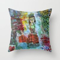 Birdcage Lady Throw Pillow