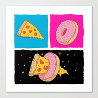 Pizza & Donut Canvas Print