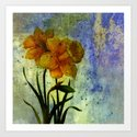 daffodil and textures Art Print