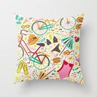 Seaside Cycle Throw Pillow