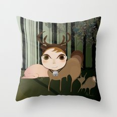 Deery Fairy in the Forest Throw Pillow