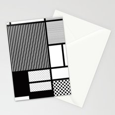 Composition With Black, Dots, Stripes & Black Stationery Cards