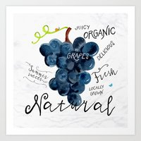 Watercolor grapes Art Print