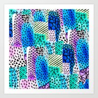 Colorful Watercolor Bloc… Art Print