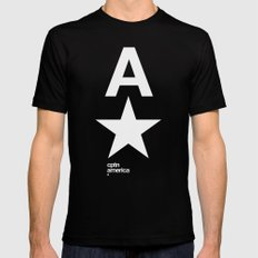 cptn america SMALL Black Mens Fitted Tee