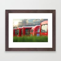 Red Buses Framed Art Print