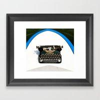 Typewriter On Surfboard Framed Art Print