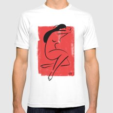 Red Girl 1 White SMALL Mens Fitted Tee