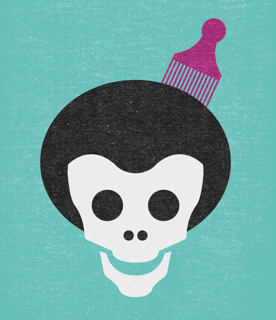 Skull with Afro. Canvas Print