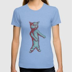 Zombie Cat Womens Fitted Tee Athletic Blue SMALL