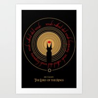 lord of the rings Art Prints featuring Lord Of The Rings by outofreception