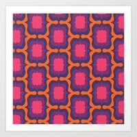 Retro Bloom Purple 4 Art Print