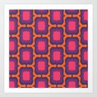 Retro Bloom Purple 4 Art Print