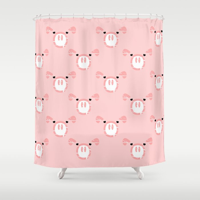 cute pink pig face shower curtain by mailboxdisco society6