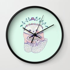 flower cat Wall Clock